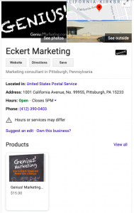 Eckert Marketing Genius Marketing on Google sidebar
