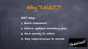 Why S.W.O.T.? 1. Quick assessment 2. Inform updated marketing plan 3. Move quickly to action 4. Help responsiveness to market Genius! geniusmarketing.com
